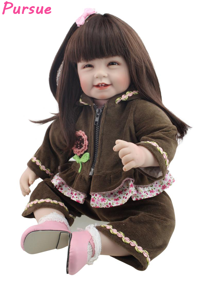 "Pursue 22""/55cm Long Brown Hair Reborn Baby Dolls Soft Cotton Body Silicone Limbs Smile Face Cute Girls Birthday Gift Presents"