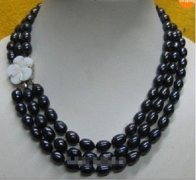 3 rows 10-12 Black natural Pearl Necklace 17-19 beautiful clasp3 rows 10-12 Black natural Pearl Necklace 17-19 beautiful clasp