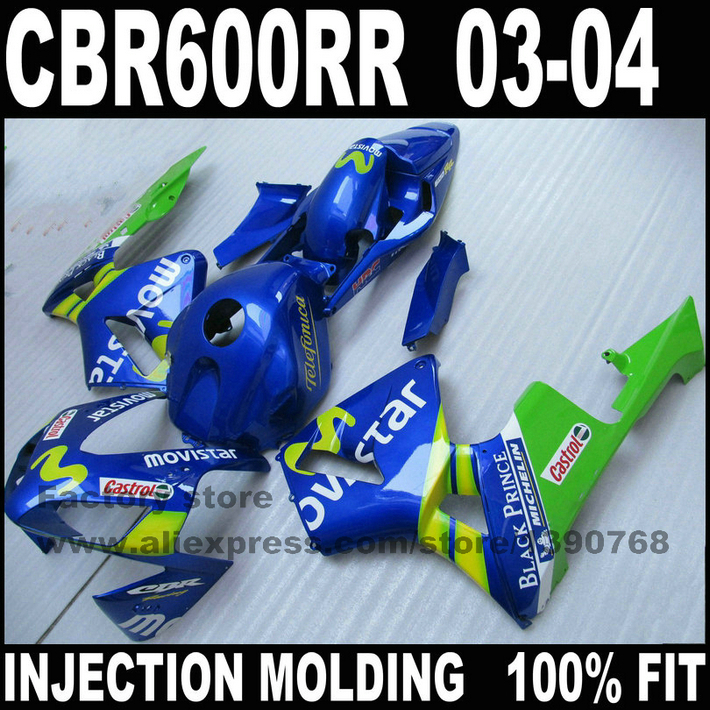 New ABS road injection fairings kit for CBR 600 RR 03 04 CBR600RR 2003 2004 blue