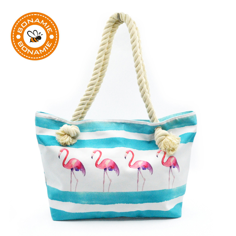 BONAMIE Flamingo Canvas Femei Tote Genți de mână Femei singure Pungi de umăr Single Capacitate mare Plajă Saci Casual Coș Rope Shopping Bag