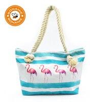BONAMIE Flamingo Canvas Women Tote Handbags Female Single Shoulder Bags Large Capacity Beach Bags Casual Hemp Rope Shopping Bag