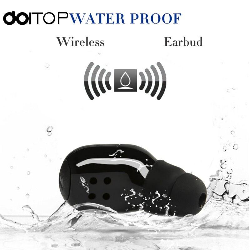 IP67 vida impermeable BlueTooth V4.2 auricular inalámbrico deporte natación estéreo en la oreja los auriculares con micrófono para todo el teléfono elegante