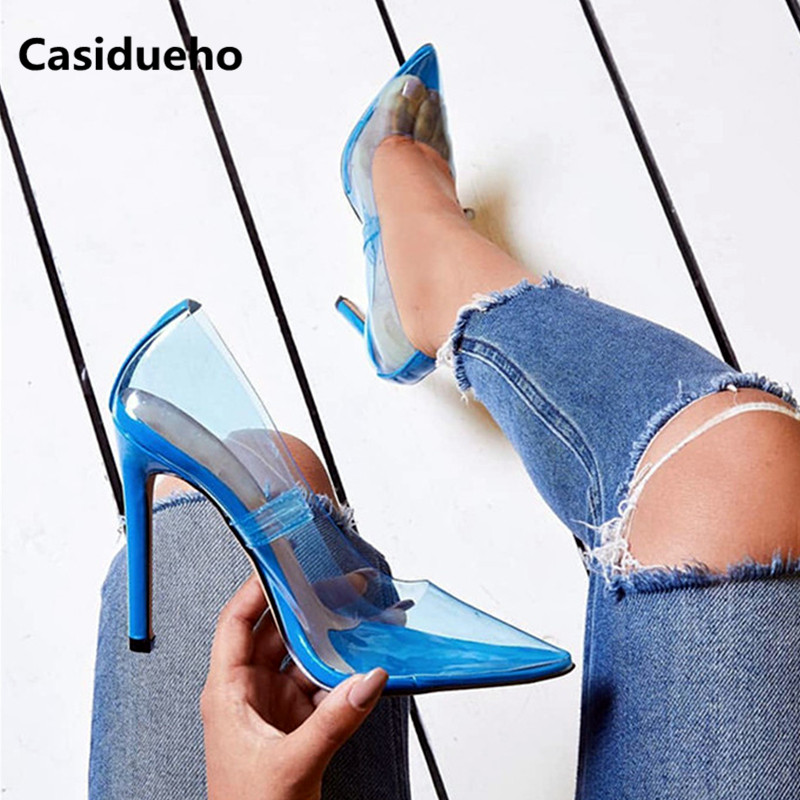 Casidueho Pointy Toe Wedding Shoes Woman Stiletto High Heels Dress Sandalias Mujer Colorful PVC Gladiator Sandals Women Pumps 42 sandalias red beige suede sandals circle studs sequined high heels gladiator sandals women pumps ankle wrap wedding shoes woman