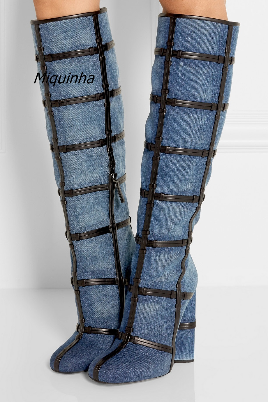 Trendy Design Blue Jeans Block Heel Keen High Boots Classy Denim PU Patchwork Round Toe Boots Fashion Chunky Heel Keen HighShoes men s cowboy jeans fashion blue jeans pant men plus sizes regular slim fit denim jean pants male high quality brand jeans