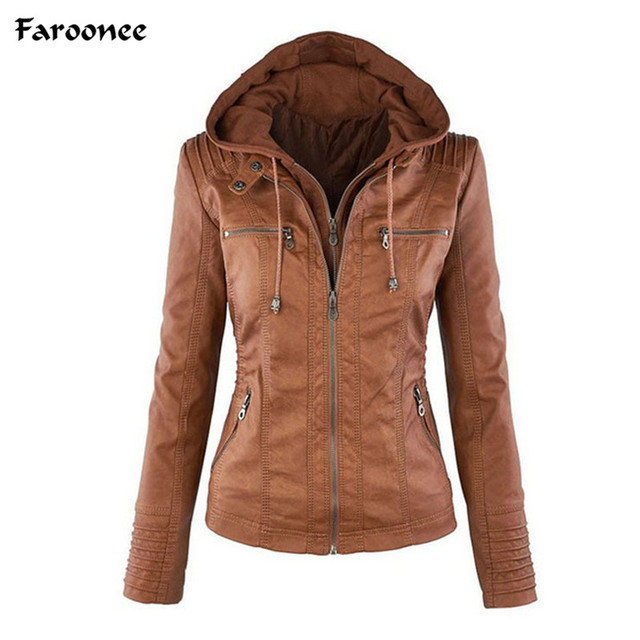 7ef45ab946 Plus Size 7X PU Hoodie Leather Jacket for Women Black Leather Hooded Zipper Jacket  Front Pocket Slim Fit Ladies' Outwear Coat