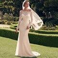 Barato de Manga Larga de La Sirena Vestidos de Novia de Encaje 2017 vestido de noiva Piso-Longitud Vestidos de Novia con Cremallera Botones Atrás