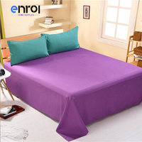 1Pcs High Quality Solid Color Bedding Flat Sheet Bed Linens Bedsheets Home Textile Twin Full Queen
