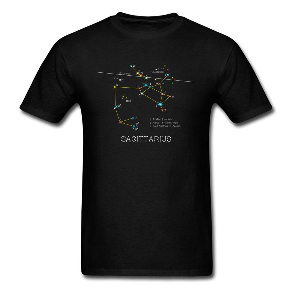 Men T Shirt Zodiac Constellation Sagittarius T-shirt Black Tops Geek Tshirts Summer 100% Cotton Tops Fall Gift Clothing No Fade