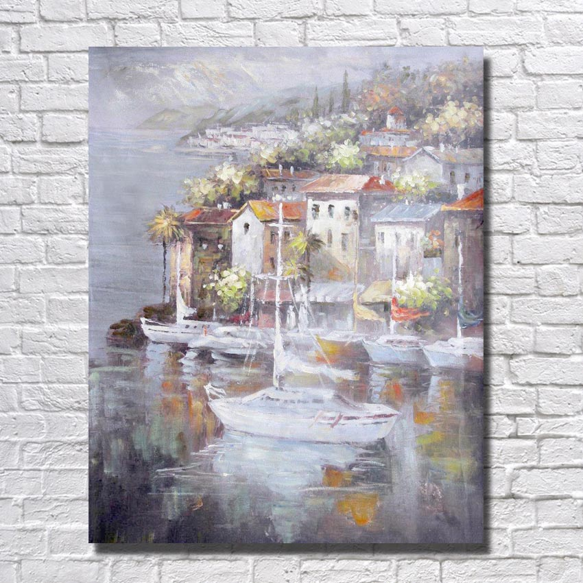 Hand Painted Oil Painting On Canvas Modern Art seaside build Oil Painting on Canvas picture for Living Room Wall no Framed