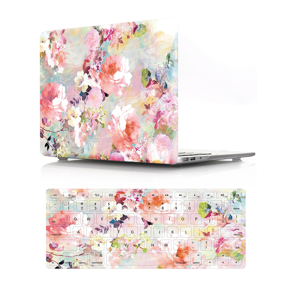 GOOYIYO - 2018 Laptop Hard PC Case Rose Flora Print Shell & Silicone Keyboard Cover For Macbook Air Retina Pro 11 12 13 15