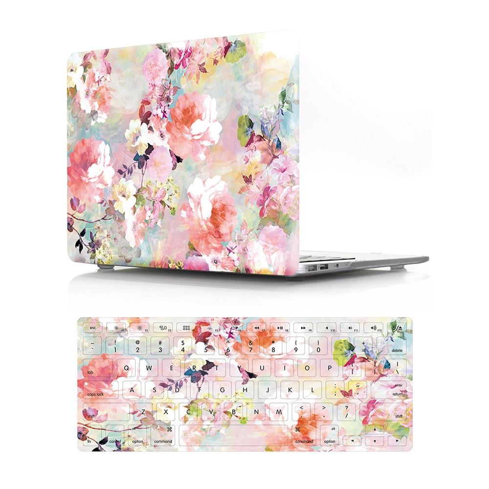 GOOYIYO - 2018 Laptop Hard PC Case Rose Flora Print Shell & Silicone Keyboard Cover For Macbook Air Retina Pro 11 12 13 15
