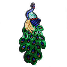 1pcs Colorful Sequin Peacock Embroidery Fabric Large Applique Patch African Lace Sew Dress Cloth Decorate Accessory Diy Apparel