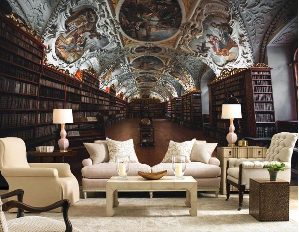 European style library Ceiling Wallpaper Murals Background Wall non woven 3d Wallpaper Living ...