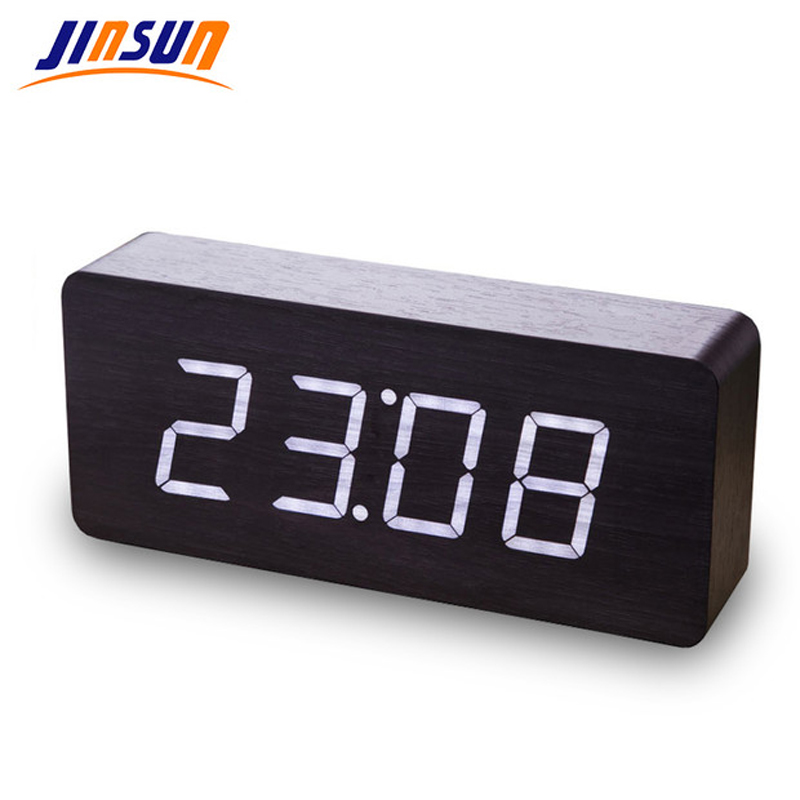 JINSUN Wood LED Digital Clock Modern Square Colorful Wooden Vekkerklokke med Temperatur Voice Control 2019 Nytt Design