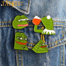TAFREE Triste Pepe Brooch Dello Smalto Rane Animale Spilli Del Fumetto Distintivo Denim Sacchetto di Accessori Camicia Risvolto Spille Gioielli(China)