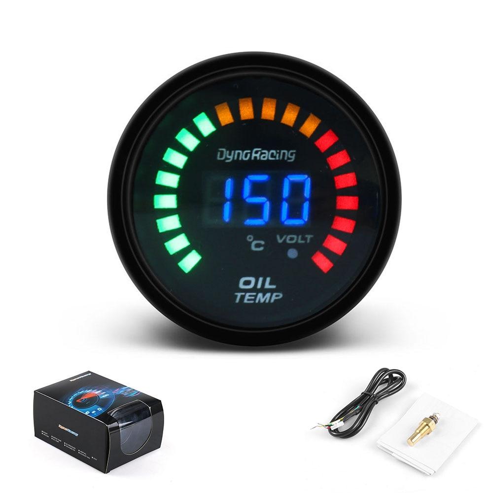 2/'/' 52MM LED Light Digital Car Oil Temp Temperature Gauge Mount Meter Pointer