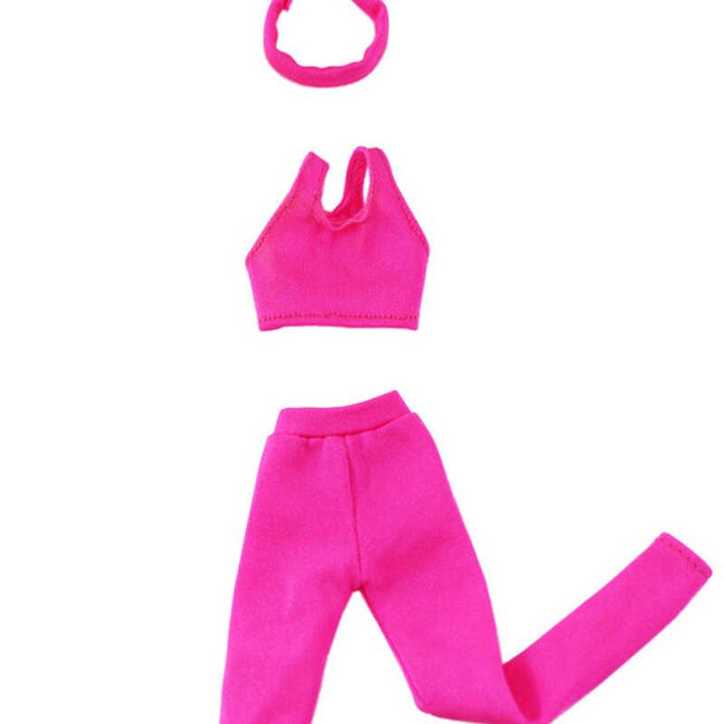 בעבודת יד מזדמן תלבושת בובת בגדי חליפת עבור ברביות בובת ורוד צבע יוגה ספורט עבור בובה