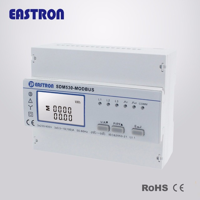 SDM530 Modbus Three Phase Four Wire Din Rail Energy Meter, RS485 ...