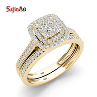 Szjinao 925 Sterling Silver Ring Sets Luxury Engagement Jewelry Lab Diamond Yellow Gold Color Rings For Women Gift For Wedding