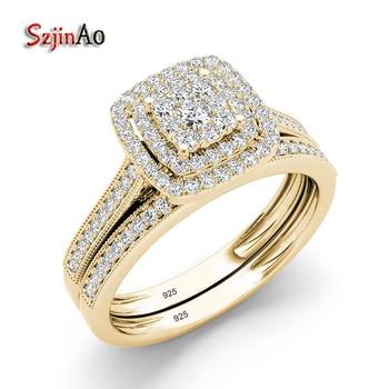 b901a832afd4 Szjinao de Plata de Ley 925 anillo de plata conjuntos de joyas de compromiso  laboratorio diamante amarillo anillos de Color oro para mujer