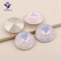 YANUO 1201 Rivoli 27mm Rose Water Opal Sew On Glass Cabochon Claw Rhinestone Sewing Point Back Clothes Decor Dresses
