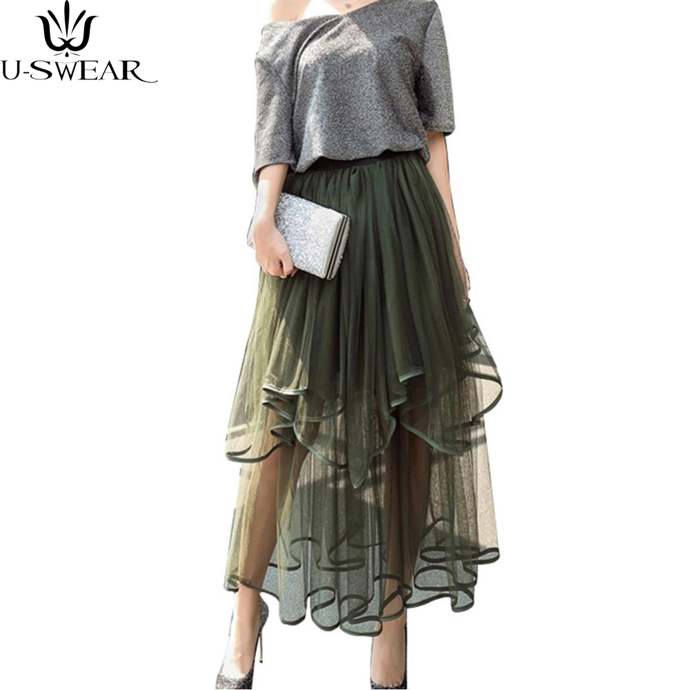 U-SWEAR 2018 Women Fashion Lace Irregular Skirt High Waist Beach Chiffon Tutu Skirt Elastic Waist Floral Boho Tulle Skirt