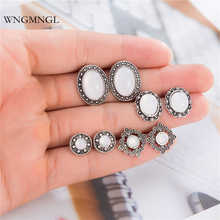 WNGMNGL 5 Pairs/Set 2018 New Fashion Vintage Boho Mix Geometric Round Oval Sliver Color Stud Earrings for Women Jewelry Gift