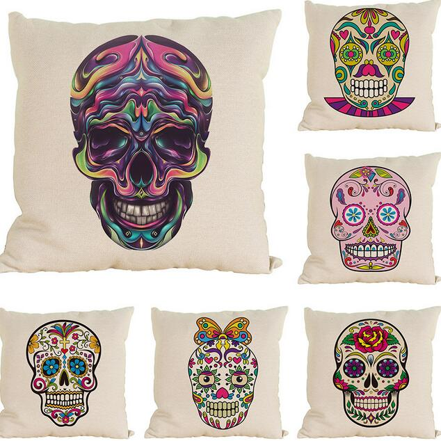 Halloween Mexican Sugar Color Skulls Cushions Cover Decorative Throw Pillows  Sofa Home Decor Pillow Cases Decorativos