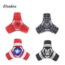 Elsadou Fidget Toy Triangular Captain America Iron Man Spider Man Hand Spinner Avengers Metal Finger Stress Spinner