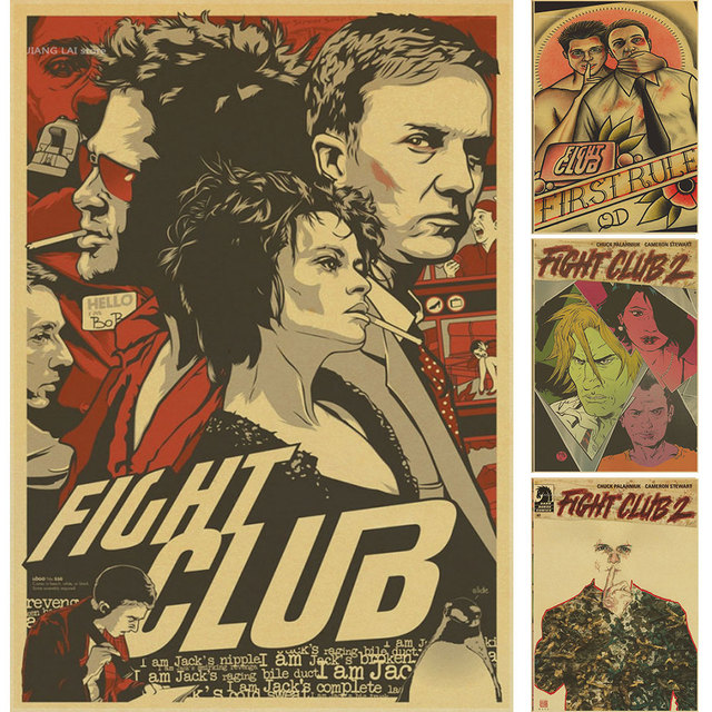 fight club poster  Vintage Paper Retro anime poster Fight club Poster Brad Pitt Posters ...