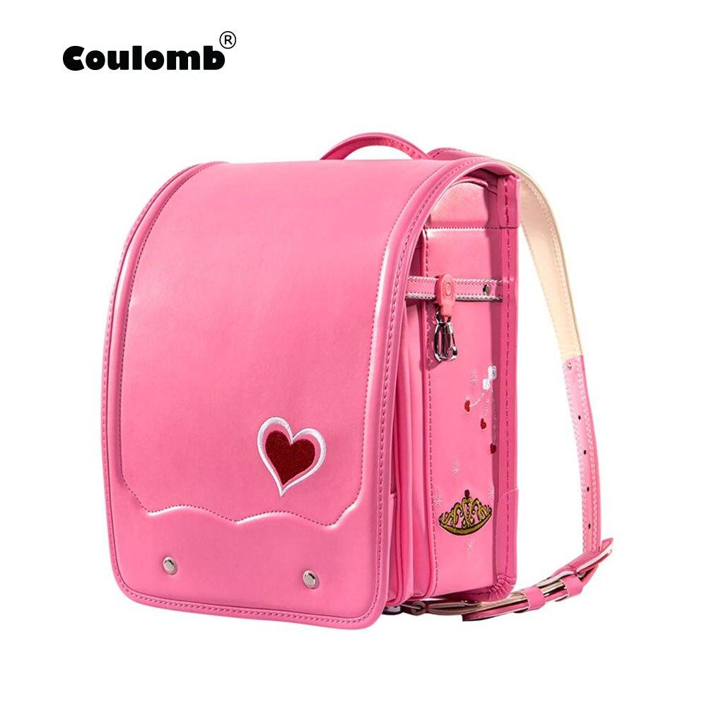 Кулоновского детский ортопедический рюкзак для девочки Школьная Сумка Кожа PU любовь красный принцесса детская книга сумки рюкзаки детей н