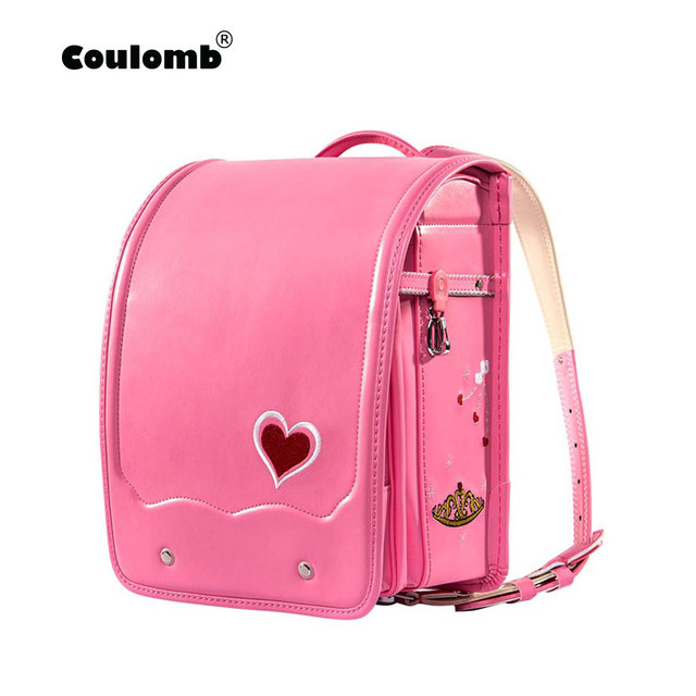 Coulomb Children Orthopedic Backpack For School Bag Pu Leather Love Red Princess Baby Book Bags