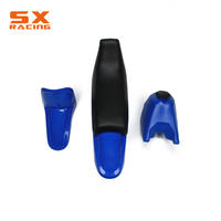 Motorcycle 7 PCS Black And Bule Body Plastic Cover Gas Fuel Tank Seat Fender Mudguards Kit Set For YAMAHA PW50 PW 50 Dirt Bike