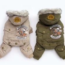 Одежда для собак, зимняя теплая одежда для собак, зеленое пальто, комбинезон, утолщенная Одежда для питомцев, для Йоркшира, плюшевые собаки костюм Одежда для щенков, куртки
