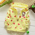 2016 Nuevo spring100 % algodón Casual Patrón del corazón del amor del Gatito de los Bebés Camisetas de Los Niños Outwear Abrigos Hoodies Y1389
