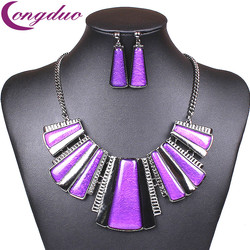 Fashion vintage jewelry set purple geometric earrings for women resin jewelry sets square statement necklace set.jpg 250x250