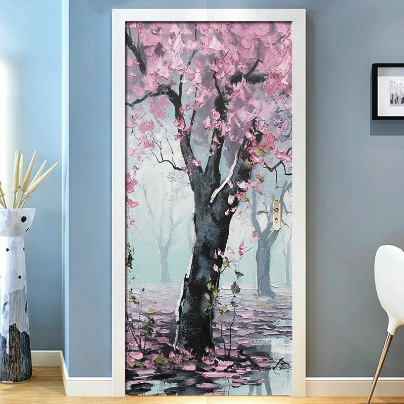 3D Pink Woods Flowers Landscape Door Stickers Mural Living Room Door PVC Self-adhesive Waterproof 3D Wallpaper Home Door Decals