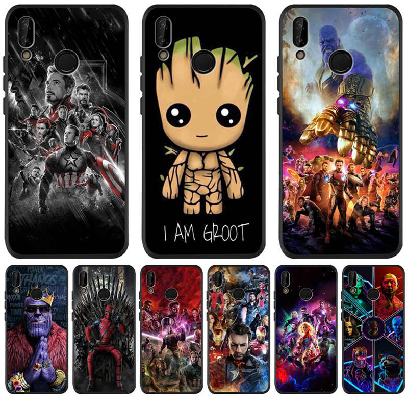Mewah Marvel Avengers Groot untuk Huawei P8 P10 P20 P30 Mate 10 20 Honor 8 8X 8C 9 10 Lite plus Pro Case Cover Coque Etui Funda