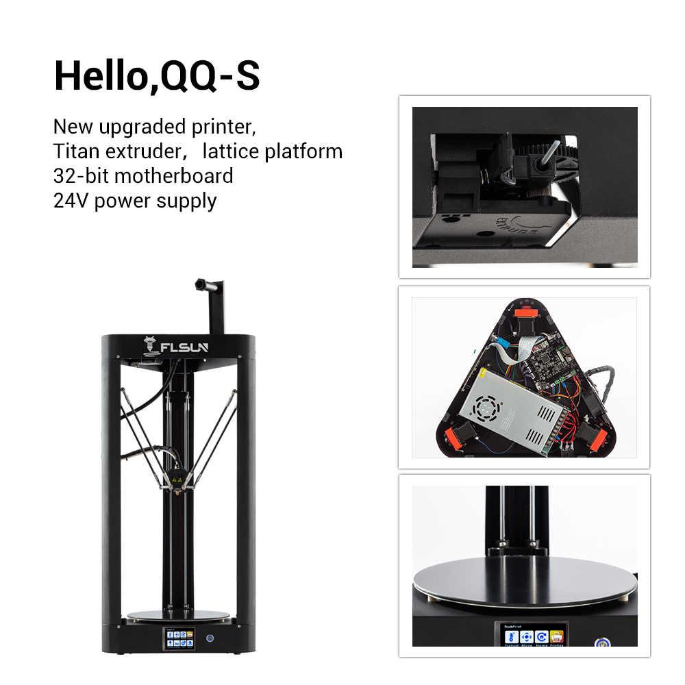 2019 ใหม่ Flsun QQ-S 3D เครื่องพิมพ์ Pre-assembly หน้าจอสัมผัสขนาดใหญ่การพิมพ์ Titan 32bits บอร์ด Delta 3D เครื่องพิมพ์เรือจากเยอรมนี