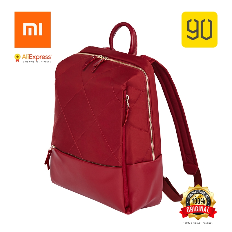Xiaomi Éco-chaîne 90FUN Mode Diamant Treillis Sac À Dos Femmes Fille Shopping Sac pour College School Voyage Voyage, rouge/Noir