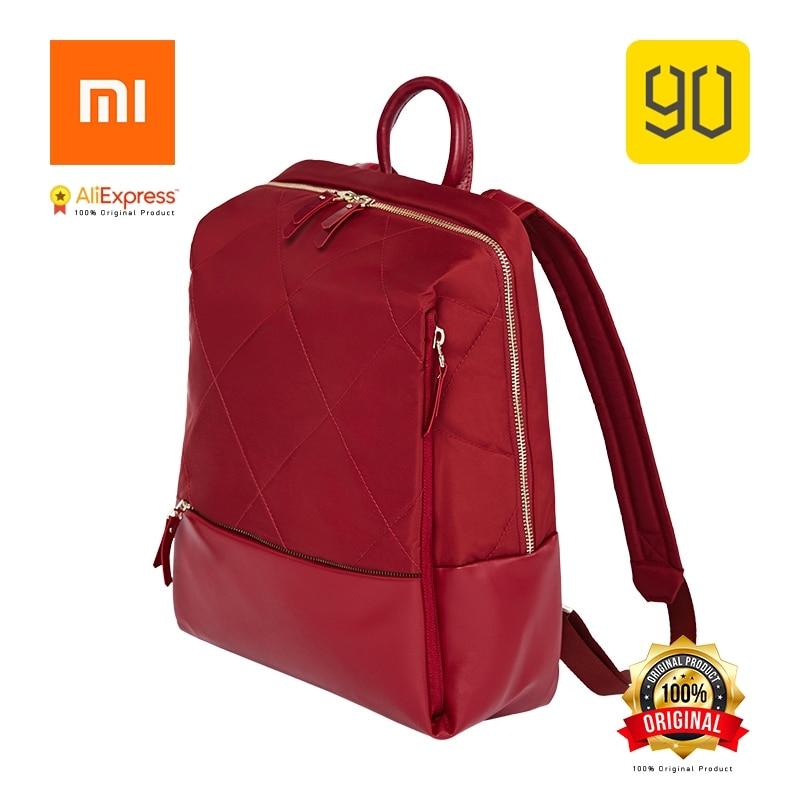 Xiaomi Eco-chain 90FUN Fashion Diamond Lattice Backpack Women Girl Shopping Bag for School College Travel Trip, Red/Black карабин black diamond black diamond rocklock twistlock
