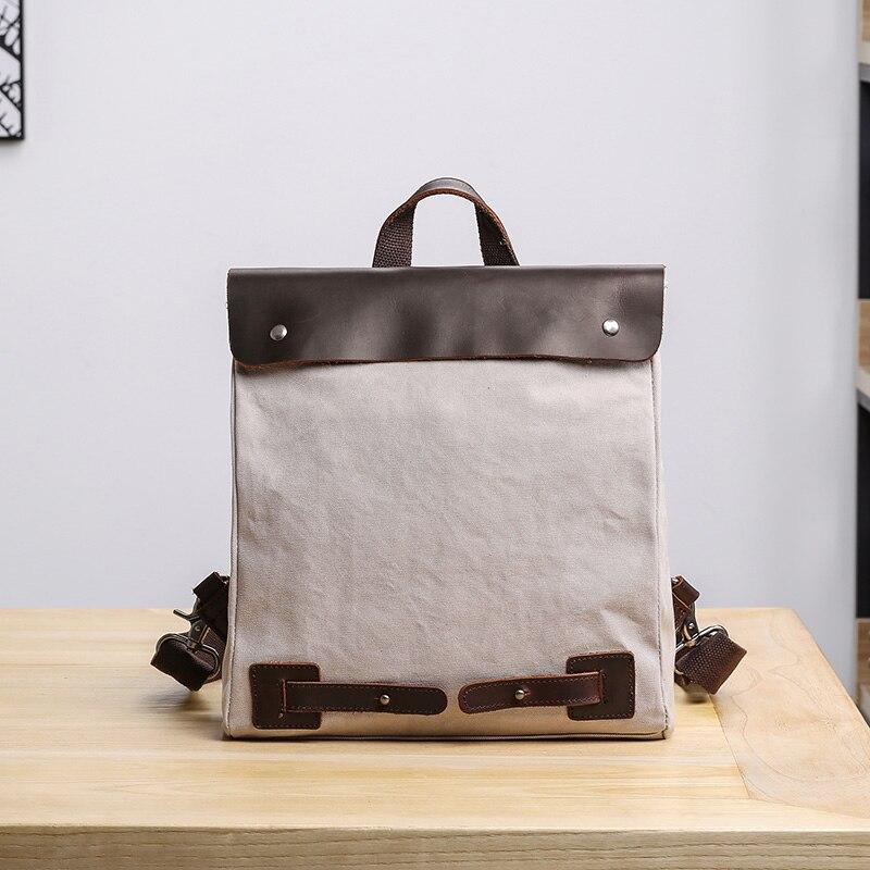 Trend Frauen College Rucksack Mode Tasche Beige Bjyl Kunst Und Männer Reisetasche Leinwand grau Wind Umhängetasche Freizeit XwqHfT