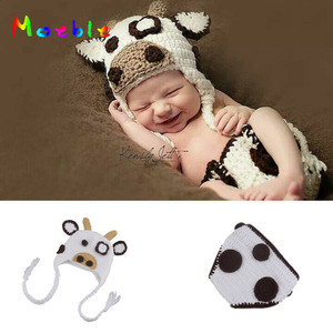 Blanco leche vaca bebé niñas bebé sombrero conjunto de pañales accesorios de fotografía de punto recién nacido viene casa trajes lindo traje de bebé animal