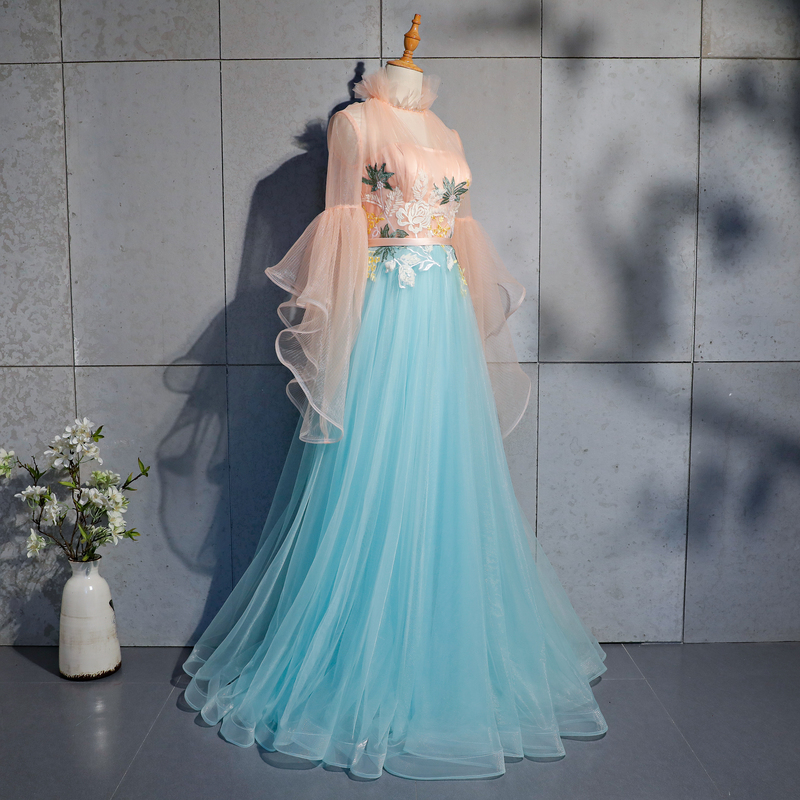 100%real luxury flower embroidery ruffled collar princess long gown medieval dress/victoria belle gown