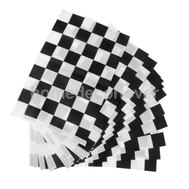 Black White Checkered Flag Banner F1 Formula Car Motor Racing Party Decor
