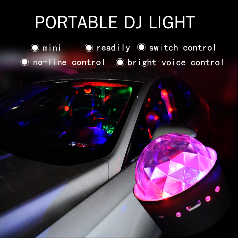 Portable Car Music Dj Lights Include Battery Mini Rgb Club Disco Party Crystal Magic Ball For Bmw Vw Benz Honda Nissan Lada Audi In Decorative Lamp From