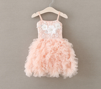 New Baby Girls Lace Floral Ball Sling Dresses Princess Kids Sweet Party Clothing 5 Pcs Lot