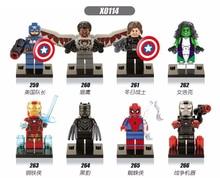 цена на X0114 Legoingly Marvel ant Avengers Super hero team leader iron Man Hulk Black panther war machine Spiderman Building Blocks toy
