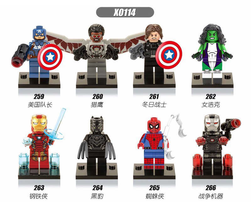 X0114 Legoingly formiga Vingadores Marvel Super hero líder da equipe pantera Negra máquina de guerra Homem de ferro Hulk Spiderman Building Blocks toy