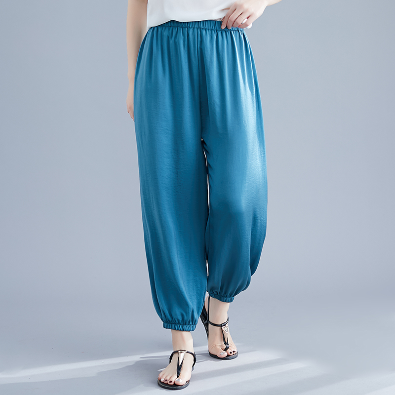 Women   Wide     Leg     Pants   Elastic Waist 2019 Summer Autumn New Solid Color Loose Vintage Trousers